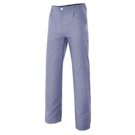 Pantalón de cocinero con elástico en cintura, tres bolsillos y tejido de pata de gallo