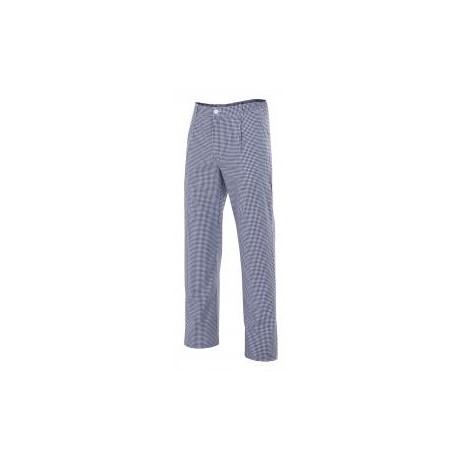 Pantalón de cocinero con elástico en cintura, tres bolsillos y tejido de cuadros.